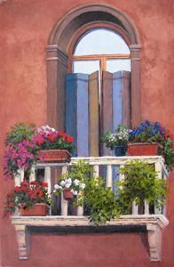 European Scenes - Blue Shutters 36x24  $4500 SOLD