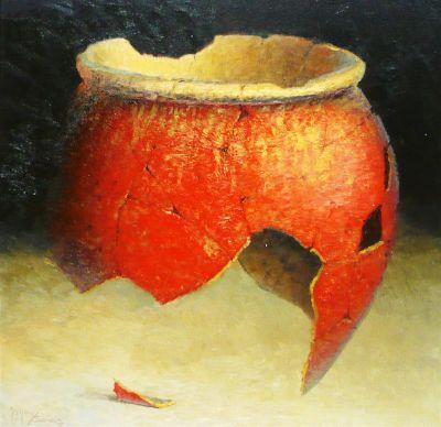 Clay Pots and Vessels - Broken Hopi Pot 12x12  $2500 SOLD