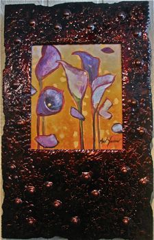 Stylized Flowers - Cala Lillies with Lenan Frame 22x16 $1900