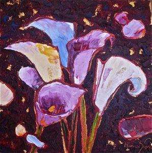 Stylized Flowers - Calla Lilies 12x12 $650