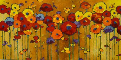 Stylized Flowers - Celebration of Poppies 24x48 2900 SOLD