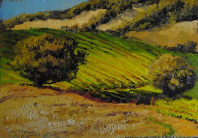 5x7 Paintings - Spanish Hillside ON LOAN TO LAST CHAIR MEDIA