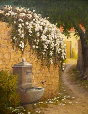 European Landscape - Fountain 30x24  $4500 SOLD