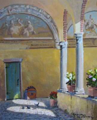 Watercolors - Monestary Arches  10x8    $750
