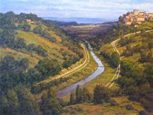 European Landscape - Po River 30x40 $6500 SOLD