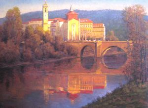 European Scenes - Reflected Amarante Portugal 24x30 $4500 SOLD