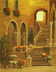 European Scenes - Golden Stairway 16x12 $2900 SOLD