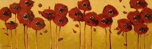 Impasto - Stretched Poppies 12x36 $1500