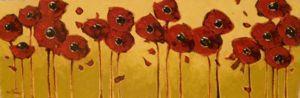 Impasto - Stretched Poppies 12x36 $1500