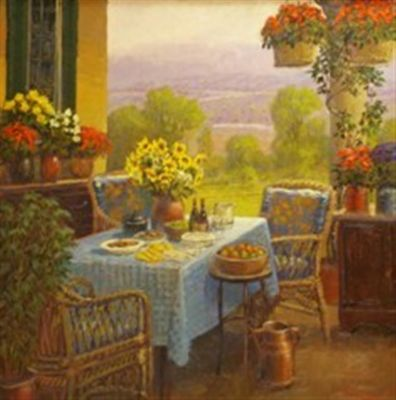 European Scenes - Sun Porch 36x36 (Sold)