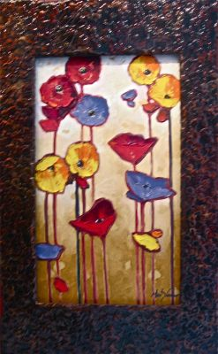 Stylized Flowers - Celebration of Flowers 36x20 $2200 SOLD