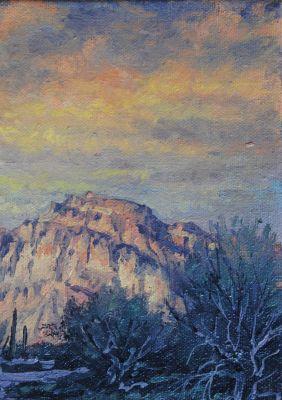 5x7 Paintings - study sundown 5x7