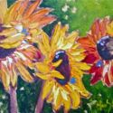 Impasto - 3 Sunflowers 8x10 $450