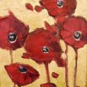 Stylized Flowers - 5 Red Poppies 10x8 $450