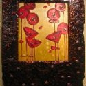 Stylized Flowers - Poppies with Lenan Frame 22x16 $1900