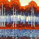 Contemporary Outdoor - Reflected Aspen Grove 36x48 $3900