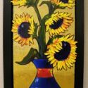Heavy Texture - Sculpted Sunflowers 24x12 $1900 Sold