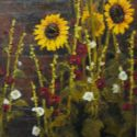 Still Life - Sunflowers and Holly Hocks 72x36 $9500