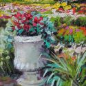 5x7 Paintings - french garden 5x7